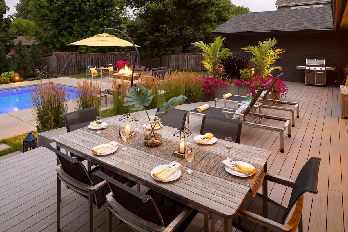 Backyard Oasis outdoor entertainment area on deck