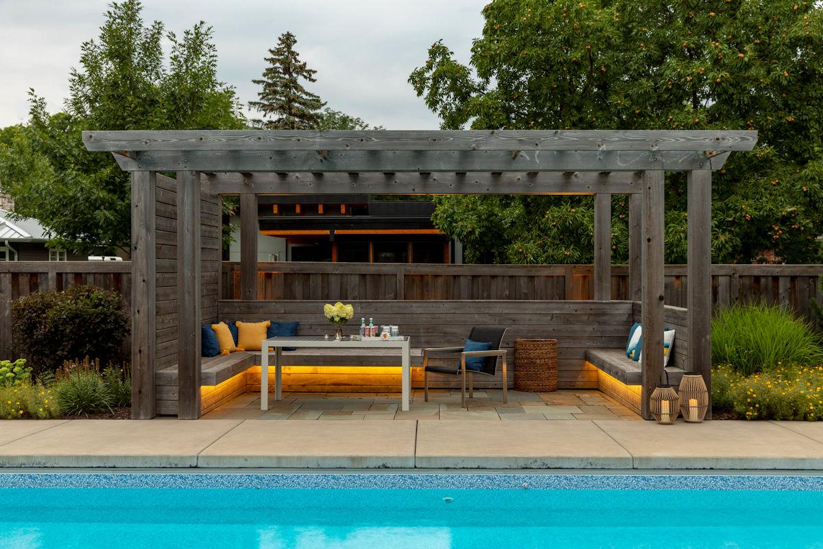 Backyard Oasis poolside pergola
