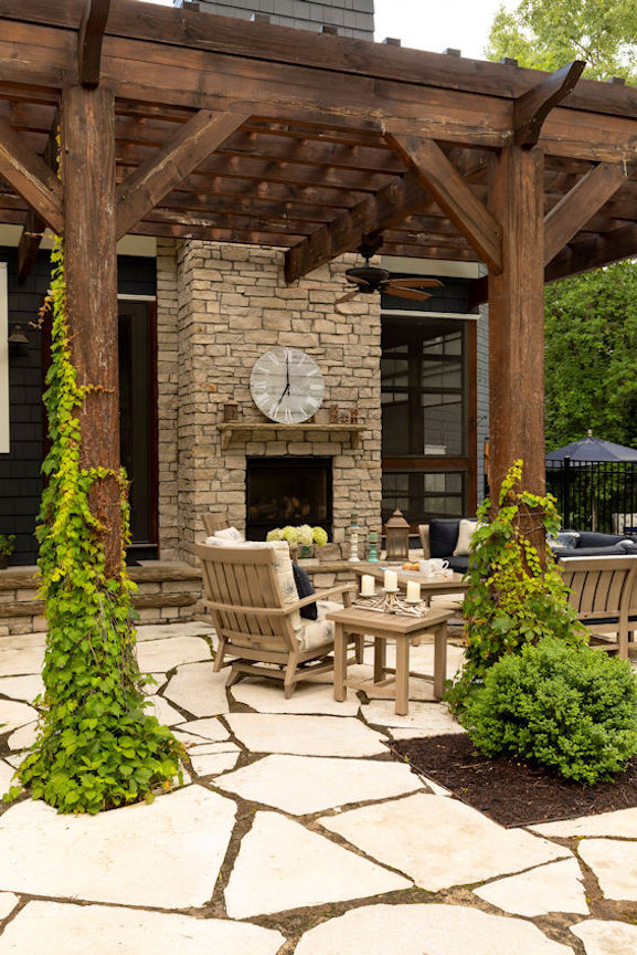 Hamptons Charm outdoor fireplace
