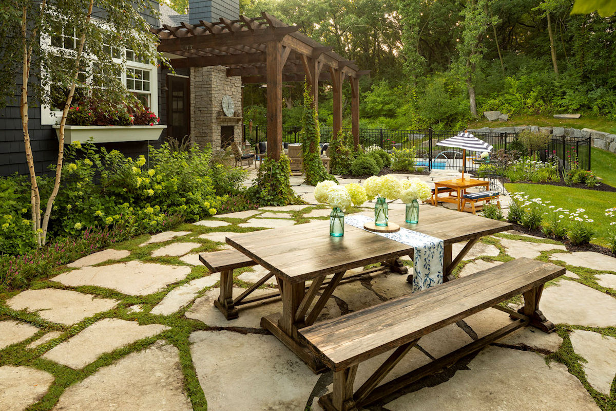 Hamptons Charm pergola and patio