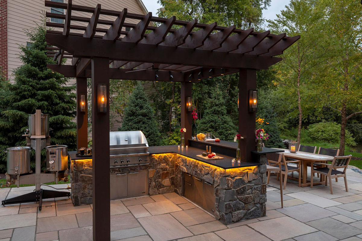 Brewed Elegance outdoor stonework and lighting details by LIVIT